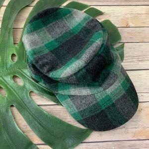 Life is Good green plaid wool blend cadet hat